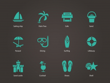 Beach icons. Vector illustration.
