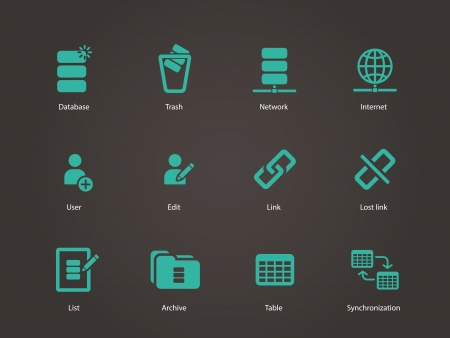 Database icons. Vector illustration. Vector