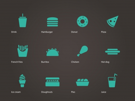 Fast food icons. Vector illustration. Vector
