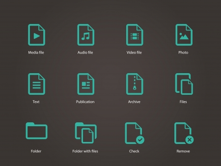 archive site: Set of Files icons. Vector illustration. Illustration