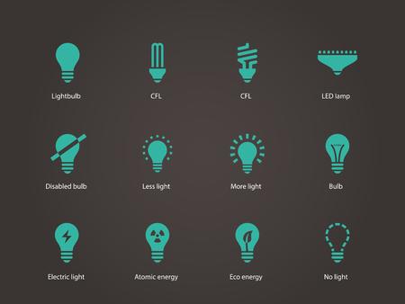 Ampoule et icônes de lampes fluorescentes compactes. Vector illustration. Vecteurs