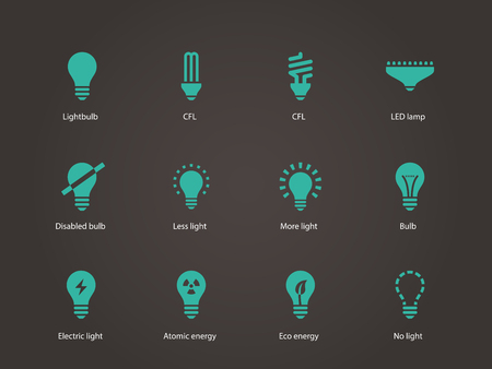 compact fluorescent lightbulb: Light bulb and CFL lamp icons. Vector illustration.