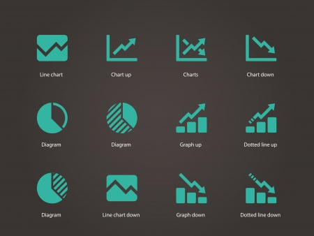 Line chart and Diagram icons. Vector illustration. Ilustrace