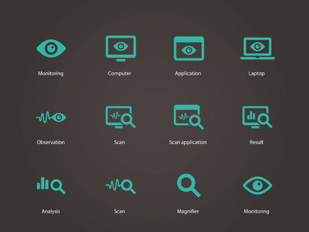 observation: Observation and Monitoring icons. Vector illustration. Illustration