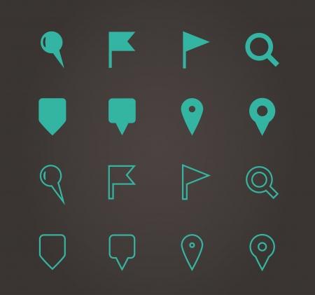 GPS en navigatie pictogrammen. Vector illustratie. Stock Illustratie