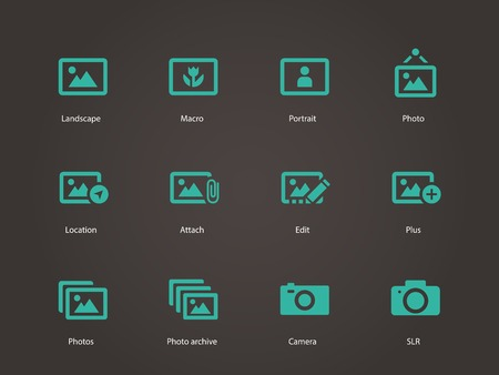 Photographs and Camera icons. Vector illustration.