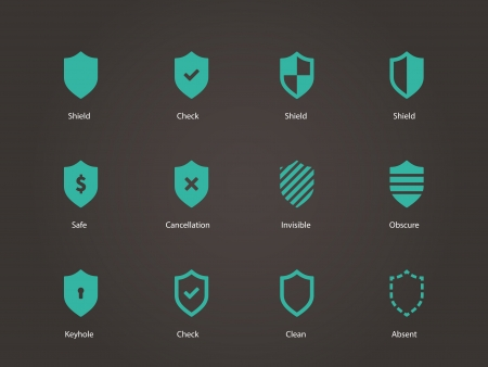 obscure: Shield icons. Vector illustration.