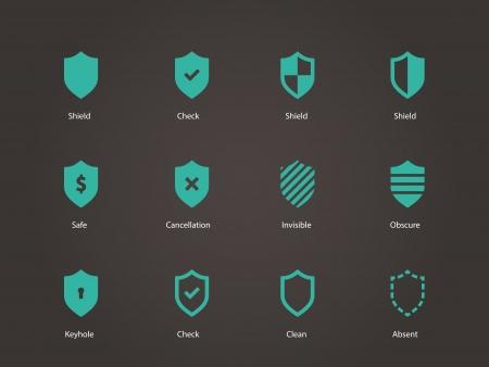 honor guard: Shield icons. Vector illustration.