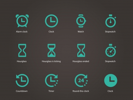 Time and Clock icons. Vector illustration. Vettoriali