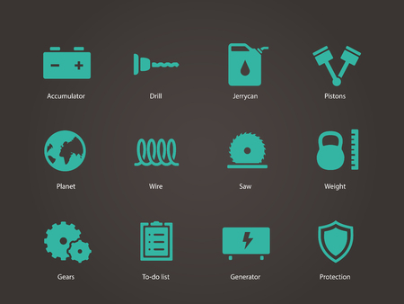 dividing line: Tools icons. Vector illustration.