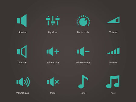 Speaker icons. Volume control. Vector illustration. Vector