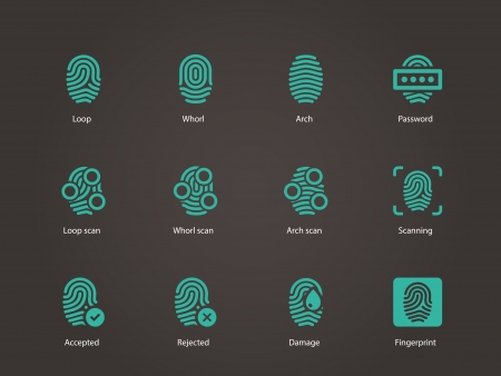 Fingerprint icons. Vector illustration. Ilustrace