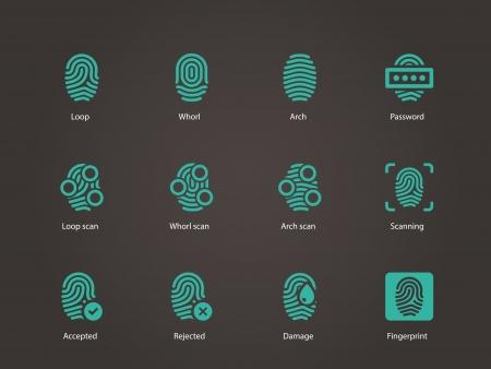 Fingerprint icons. Vector illustration. Vettoriali