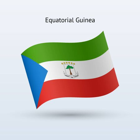 guinea equatoriale: Guinea Equatoriale sventola bandiera forma su sfondo grigio. Illustrazione vettoriale.