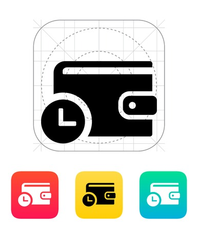 Wallet with timer icon on white illustration. Stock Vector - 24352717