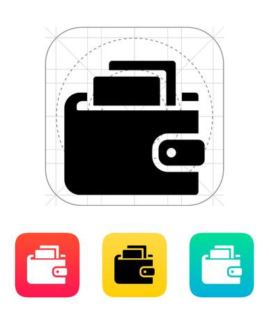 personal banking: Portafoglio con icona contanti su bianco illustrazione.