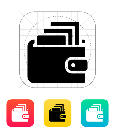 Cash in wallet icon on white illustration. Stock Vector - 24352723