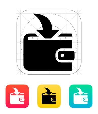 Incoming payment in wallet icon on white illustration. Stock Vector - 24352724