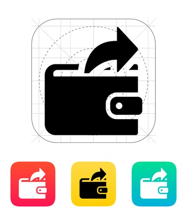 outgoing: Outgoing payment from wallet icon on white illustration.