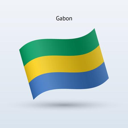 gabon: Gabon flag waving form on gray illustration.