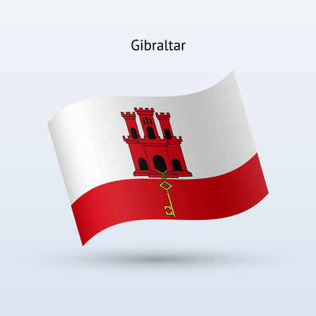 gibraltar: Gibraltar flag waving form on gray illustration. Illustration