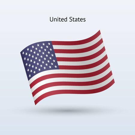 waving flag: United States flag waving form on gray illustration.