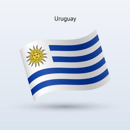 Uruguay flag waving form on gray illustration.