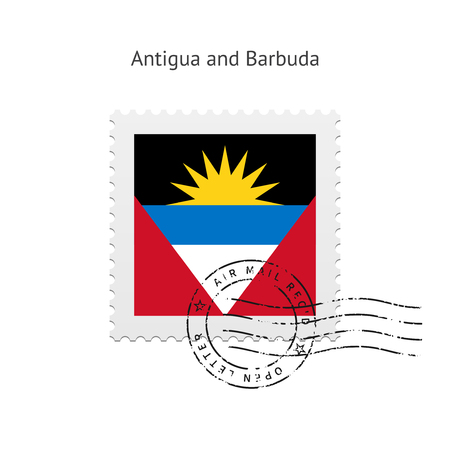 Antigua and Barbuda Flag Postage Stamp on white illustration. Vector