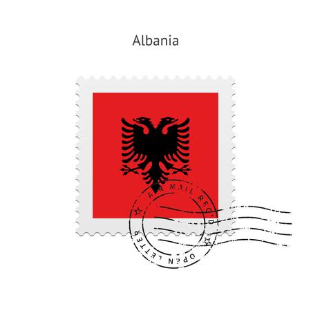 albanie: Albanie drapeau Timbre-poste sur l'illustration blanc.
