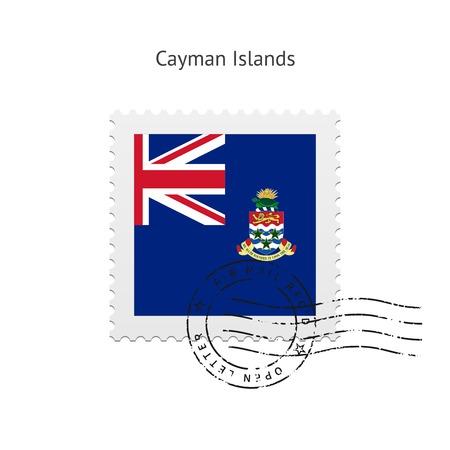 cayman: �les Ca�mans Drapeau timbre-poste sur fond blanc illustration.