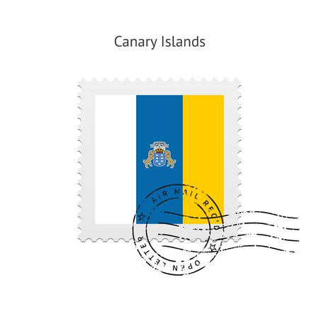 canary islands: Canary Islands Flag Postage Stamp on white illustration. Illustration