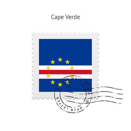 cape verde: Cape Verde Flag Postage Stamp on white illustration.