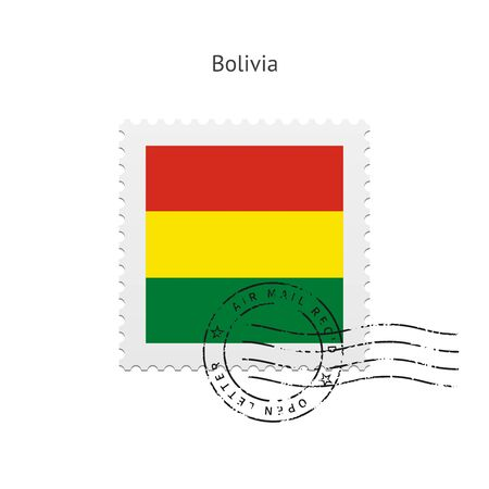 Bolivia Flag Postage Stamp on white illustration. Vector