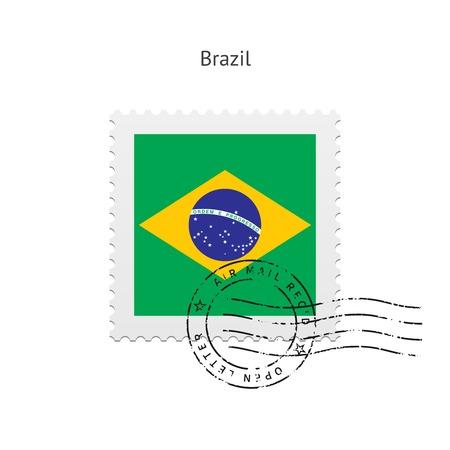 postal stamp: Brazil Flag Postage Stamp on white illustration. Illustration