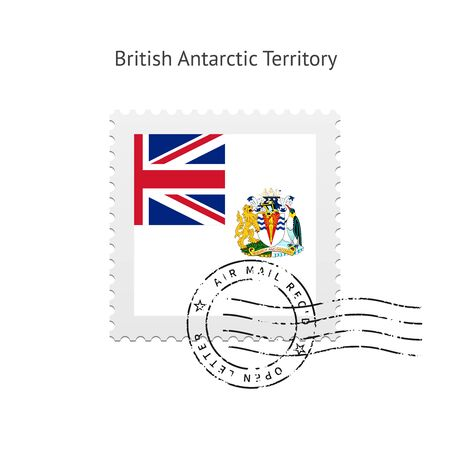 British Antarctic Territory Flag Postage Stamp on white illustration. Stock Vector - 24352476