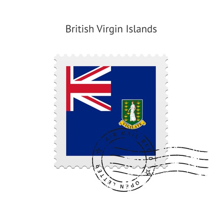 virgin islands: British Virgin Islands Flag Postage Stamp on white illustration. Illustration