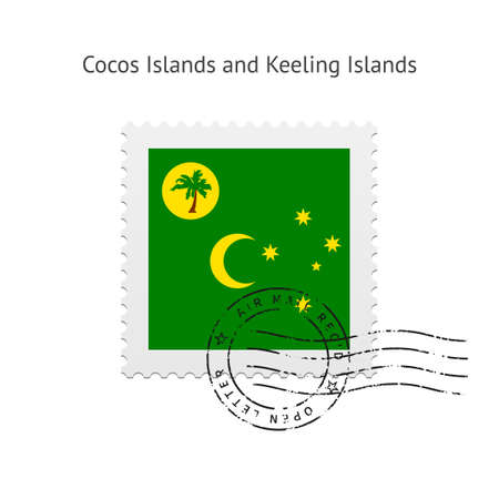 cocos: Cocos Islands and Keeling Islands Flag Postage Stamp on white illustration.