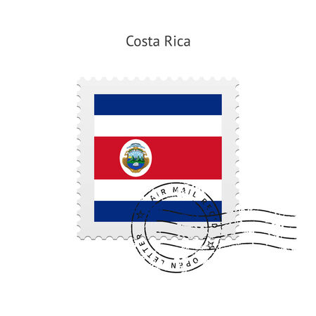 costa rica: Costa Rica Flag Postage Stamp on white illustration.