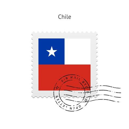bandera de chile: Bandera de Chile Sello postal en la ilustraci�n blanca. Vectores