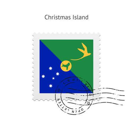 Christmas Island Flag Postage Stamp on white illustration. Vector