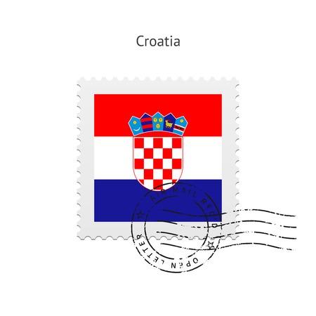 Kroatië Vlag postzegel op witte illustratie.