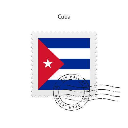 bandera cuba: Bandera de Cuba sello en la ilustraci�n blanca. Vectores