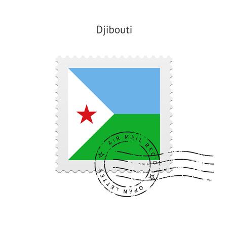 djibouti: Djibouti Flag Postage Stamp on white illustration. Illustration