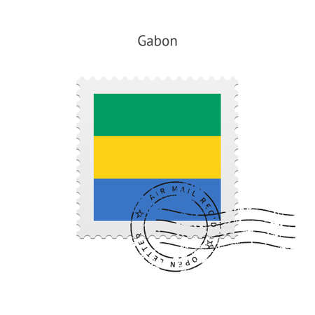 gabon: Gabon Flag Postage Stamp on white illustration. Illustration