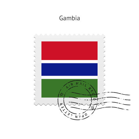 gambia: Gambia Flag Postage Stamp on white illustration.