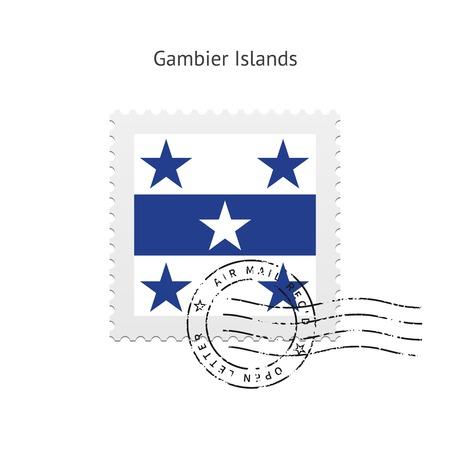 Islas Gambier Flag sello en la ilustración blanca.