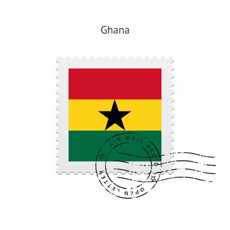 ghana: Drapeau du Ghana timbre sur fond blanc illustration.