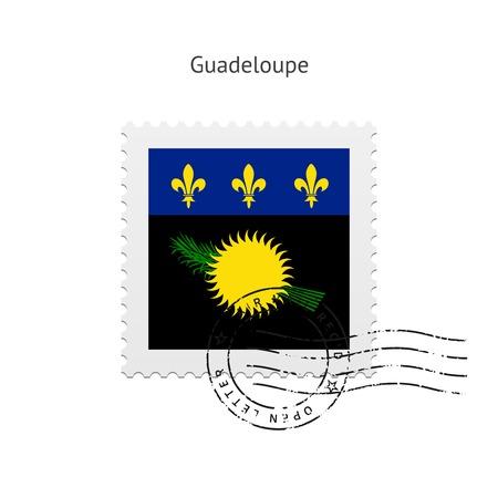 guadeloupe: Guadeloupe Flag Postage Stamp on white illustration.