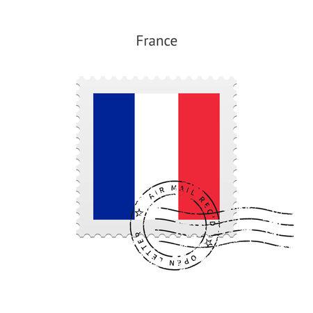 bandera francia: Bandera de Francia Sello en la ilustración blanca.