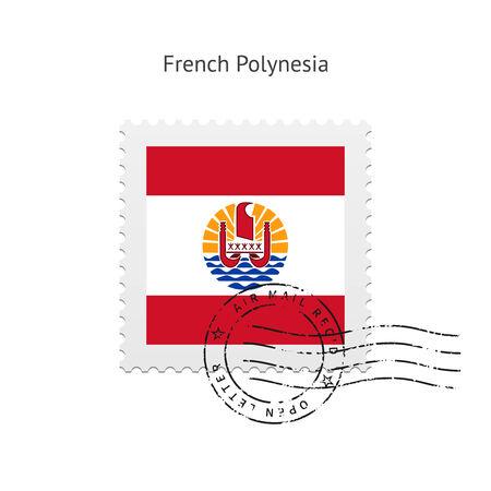 Polynésie française Drapeau timbre sur fond blanc illustration.